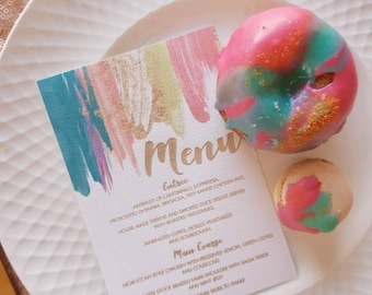 Menu. Laser engraved Sorbet stripes  menu - 10 pack