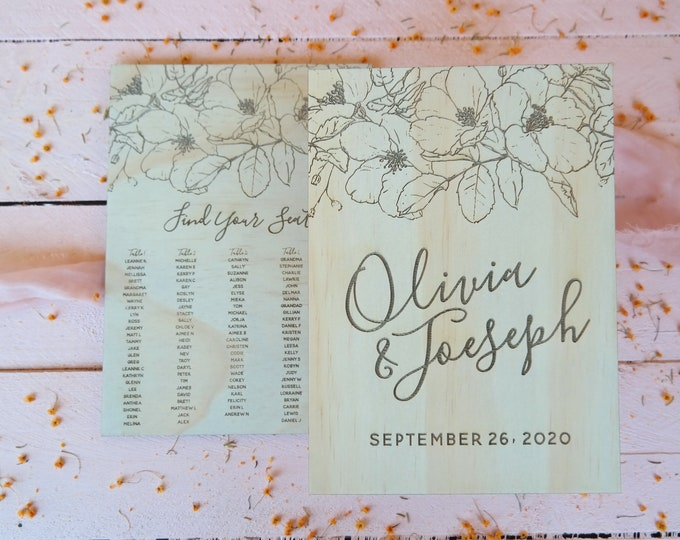 Bloom Wedding Sign Pack. Welcome Sign and Seating Chart.