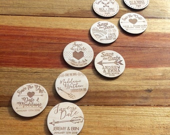 Save the date magnets. 10 pieces. Wooden magnets. Rustic. Wood etched - Heart & Arrow Designs