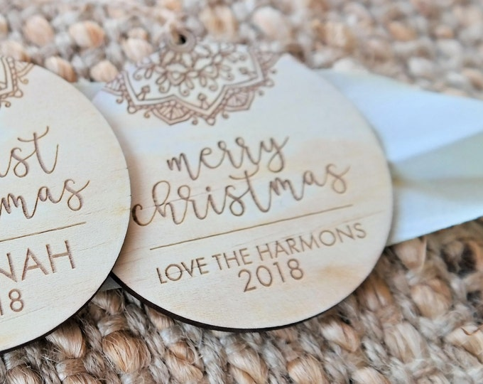 Snowflake Personalised Christmas decorations. Family gifts. Wood Copper or Gold