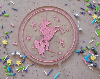 Unicorn cake topper. Acrylic or wood cake topper. Birthday cake topper. Unicorn