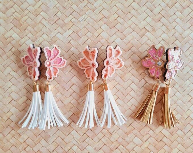 Resin Earrings - Hand painted wood, acrylic and resin earrings. Dangles