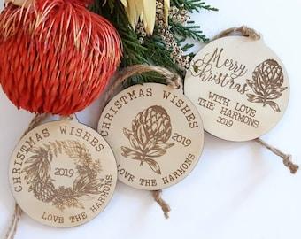 Australian Chrsitmas.  Personalised Christmas decorations. Family gifts. Wood