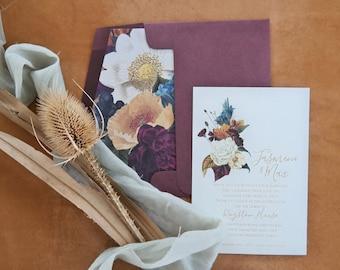 Wedding invitation. Engraved paper invitation. Floral spray design - Pack of 10