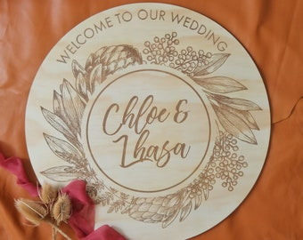 Wedding Sign. Round Wood sign