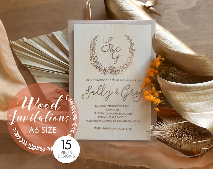 Featured listing image: Wood wedding invitation - Timber wedding invitation - Vines Design - Pack of 10