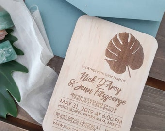 Coastal Wedding invitation,   Monstera wooden Invitation. 10pk