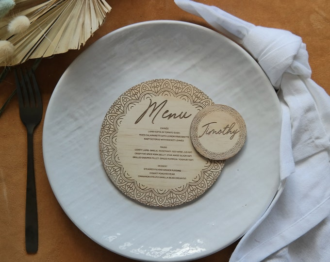 Mandala Round Menu Card - Wood Menu - Set of 10
