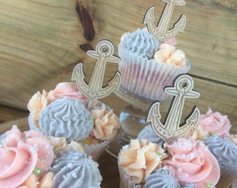 Wooden Cupcake topper - Wedding, party or special occasion, wood etched, anchor, beach. SET OF 6