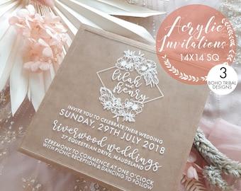 Acrylic Wedding invitations, Floral. Botanical. Garden Wedding. 14x14cm size