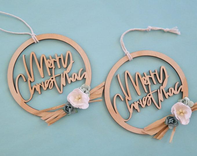 Merry Christmas Decoration. Hoop Bauble. Flower Wreath