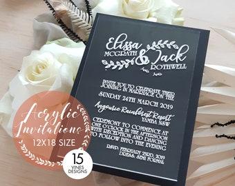 Motif Wedding Stationery. Acrylic stationery. 12cm x 18cm Set of 10