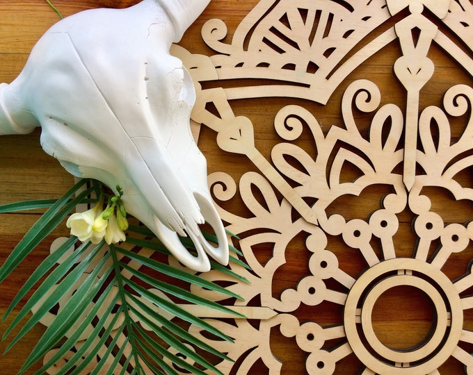 Mandala wall art. Laser cut wood mandala