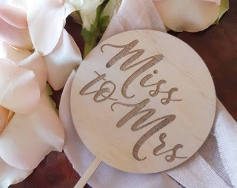 Miss to Mrs. Bridal shower cake topper. Acrylic or wood cake topper