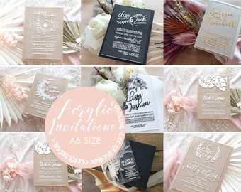 SAMPLE - Acrylic wedding invitation, laser engraved acrylic stationery. A6 size