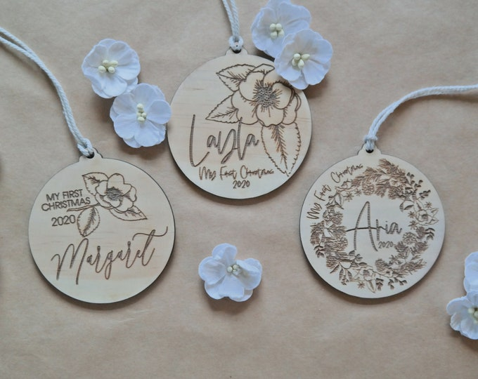 FIRST CHRISTMAS BAUBLES - Ornaments - Bird and Blooms - Wood Bauble