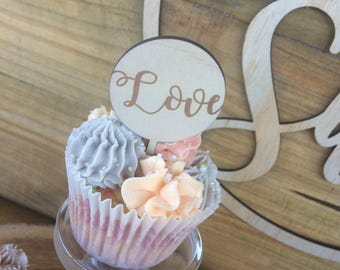 Love Cup cake toppers. Love cake topper. wedding cake topper. engagement cake topper-  SET OF 6