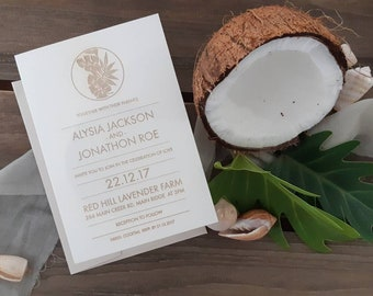Tropical leaf wedding stationery - Coastal leaf print Paper invitation - Pack of 10
