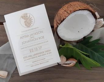 Tropical leaf wedding stationery - Coastal leaf print Paper invitation - Pack of 10