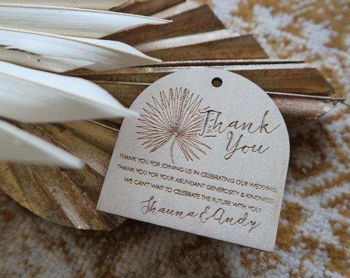 Pandanus Palm Thank you tags - Wedding gift tags. Palm print