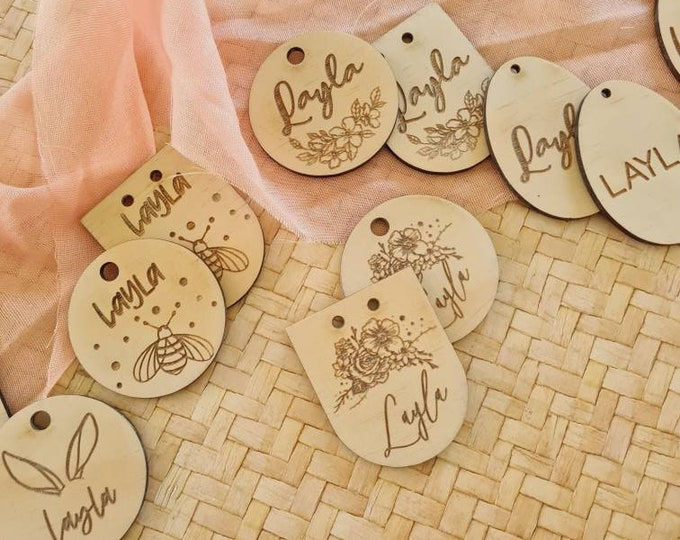 Easter Stocking labels. Wood Tags. Gift Tags