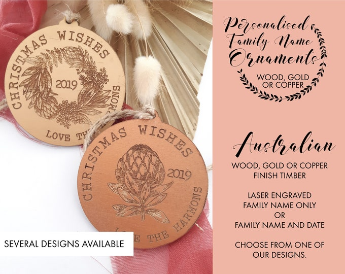 Australian Chrsitmas.  Personalised Christmas decorations. Family gifts. Wood