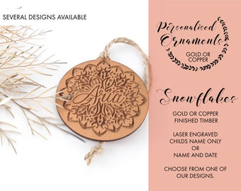 Snowflake Christmas decorations. Personalised Christmas baubles. Gold or Copper