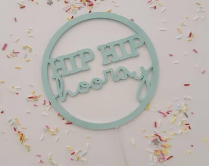 Hooray Birthday or Wedding Cake Topper - Raw Wood - Acrylic