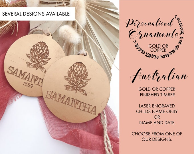 Australian Christmas. Personalised Christmas decorations. Gold or Copper
