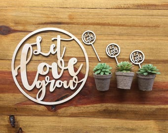 Let love grow. Wedding planter set.