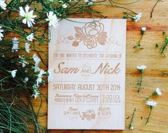 Rustic wedding invitation - Timber wedding invitation - Floral Design - Pack of 10