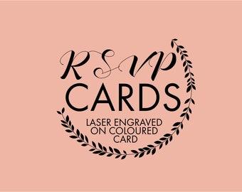 RSVP card and Envelope Sets - laser engraved text