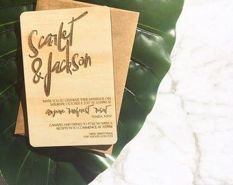 Wood wedding invitation - Timber wedding invitation - Text design - Pack of 10