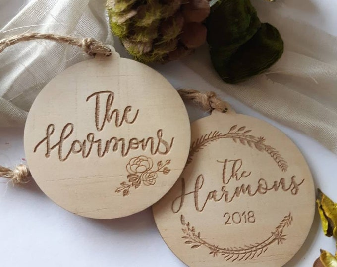Personalised Christmas decorations. Family gifts. Botanical
