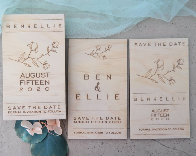 Grace Save the Date Cards - Wood Set of 10