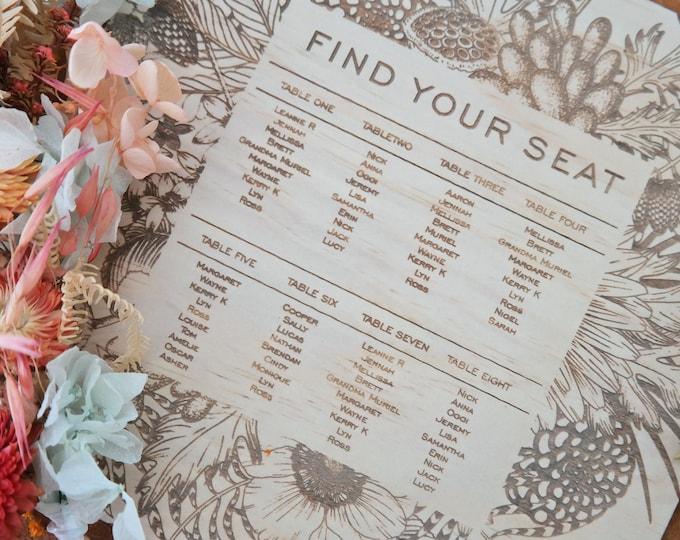 Wedding Seating Plan. Wedding Signs. Wood Seating Chart. FLORA