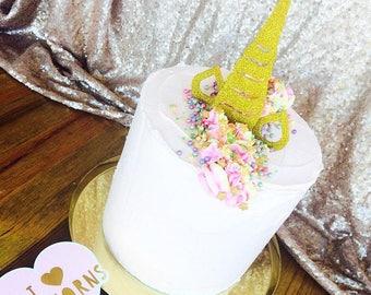 Unicorn cake totopper. Glitter unicorn horn cake topper. Large