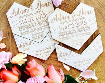 Wooden Wedding invitation. Geometric heart. Snap off RSVP.