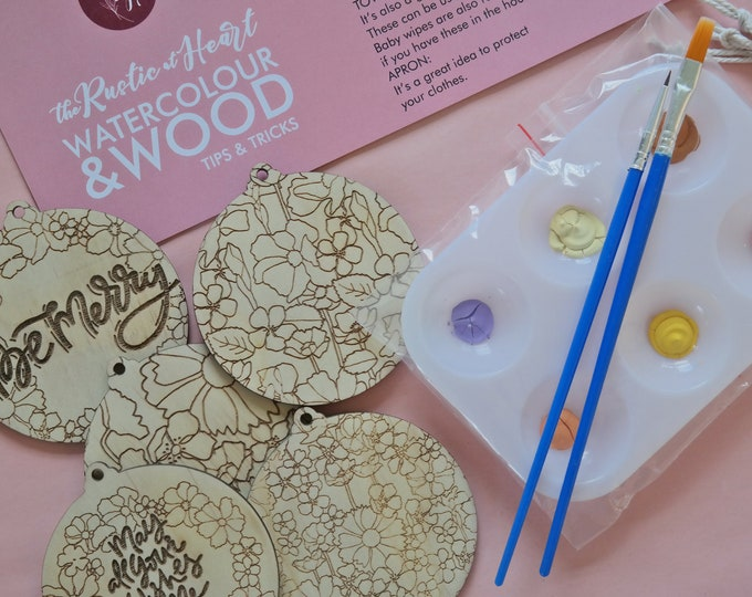 DIY Painting Kit - Paint your own Christmas Baubles  - Retro Florals