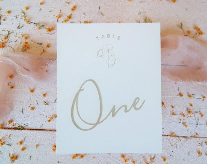 Bloom Wedding Table numbers - Card - Pink