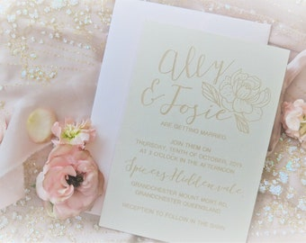 Elegant wedding stationery - Floral Designs - Linen Paper - Pack of 10
