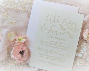 Elegant wedding stationery - Floral Designs - Linen Paper - Pack of 10