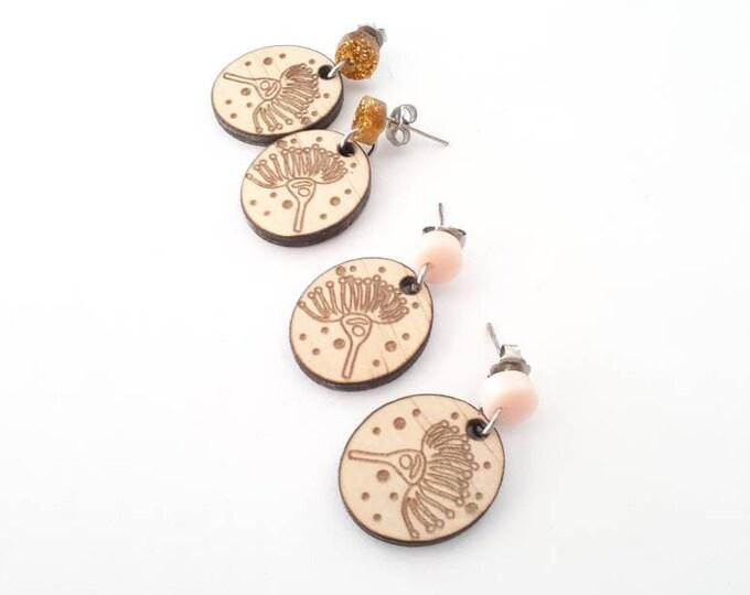 Wood earrings - Australian Earrings - Wattle