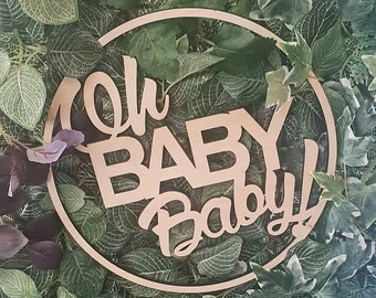 Oh Baby Baby Sign. Baby Shower wood sign