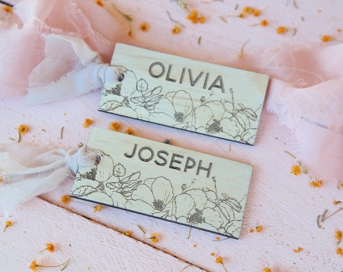 Bloom Wood Place cards - Wedding Place Cards - Rectangular