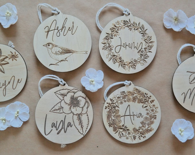 Christmas Baubles - Personalised - Ornaments - Birds and Blooms - Wood Bauble