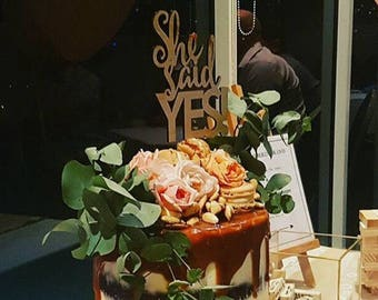 Engagement Cake topper -She Said Yes Cake topper