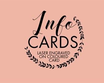 Info cards- Laser engraved stationery