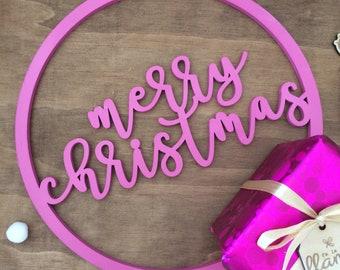 Christmas wreath. Pink christmas wreath. Sign- small