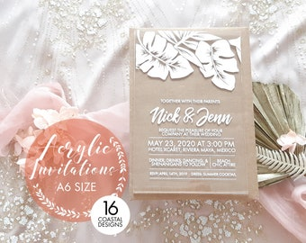 Beach Wedding Invitation. Acrylic invitations, tropical, beach, coastal. A6. Pack of 10.